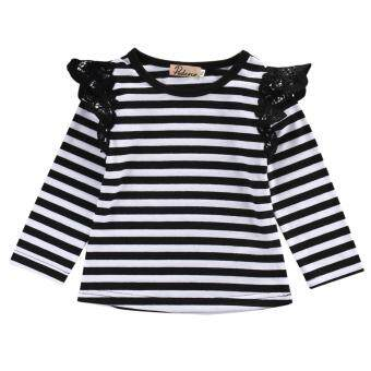 Harga Newborn Infant Baby Girl Long T-Shirt Blouse Casual Long SleeveTops Outfits Black & White