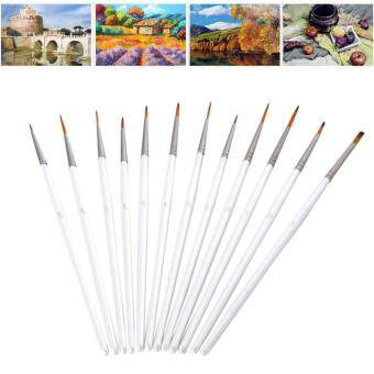 Harga niceEshop 12pcs Miniature Art Brushes Set For Art Painting AcrylicWatercolor Oil Painting Supplies