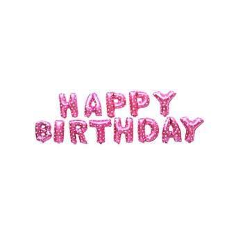 Niceeshop Tulisan HAPPY BIRTHDAY Balon Aluminium Foil Membran Balon untuk Ulang Tahun Dekorasi Pesta (Pink