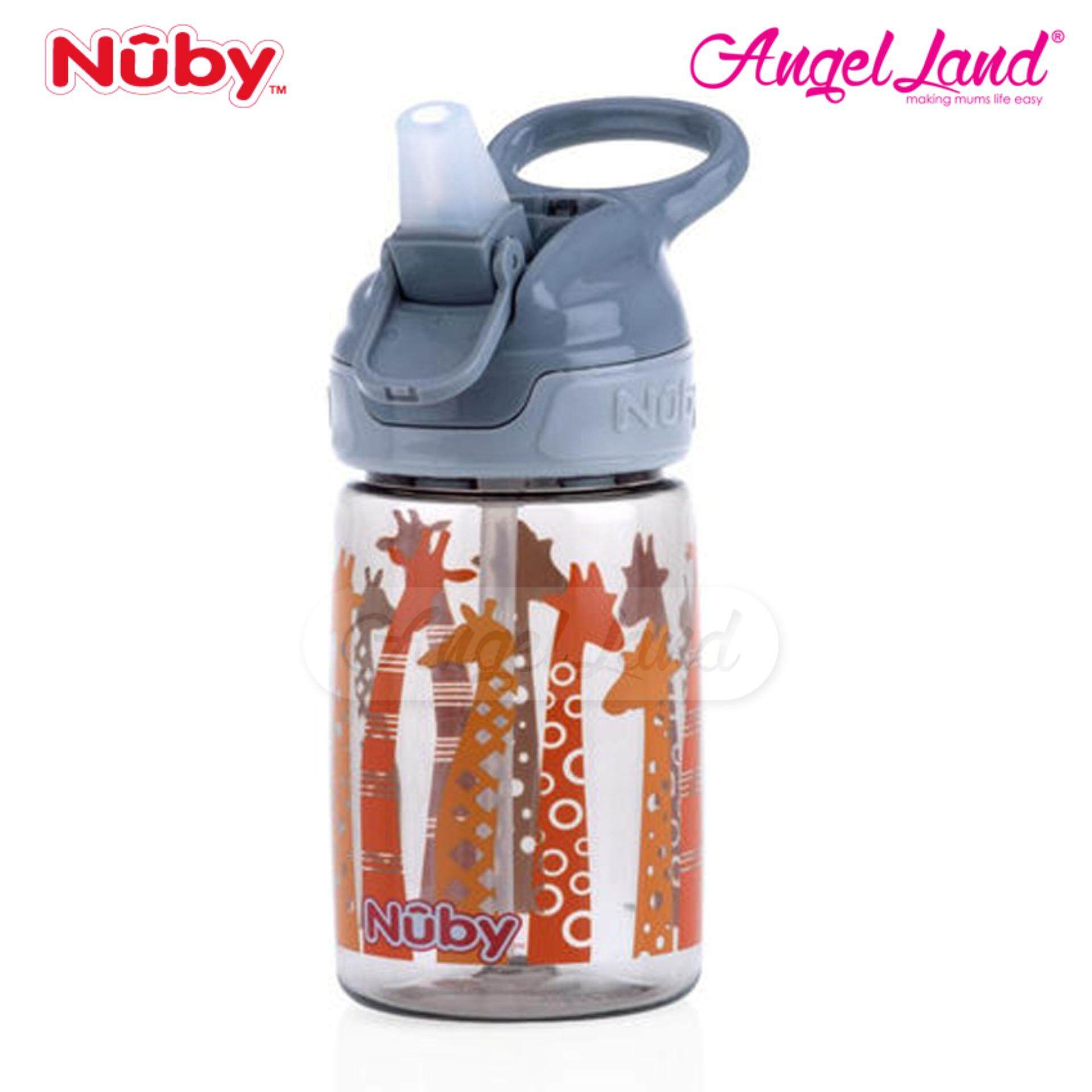 Nuby Printed and Tinted Soft Spout Sport Bottle with Push Button Top 360ML –Grey Giraffe  NB1298