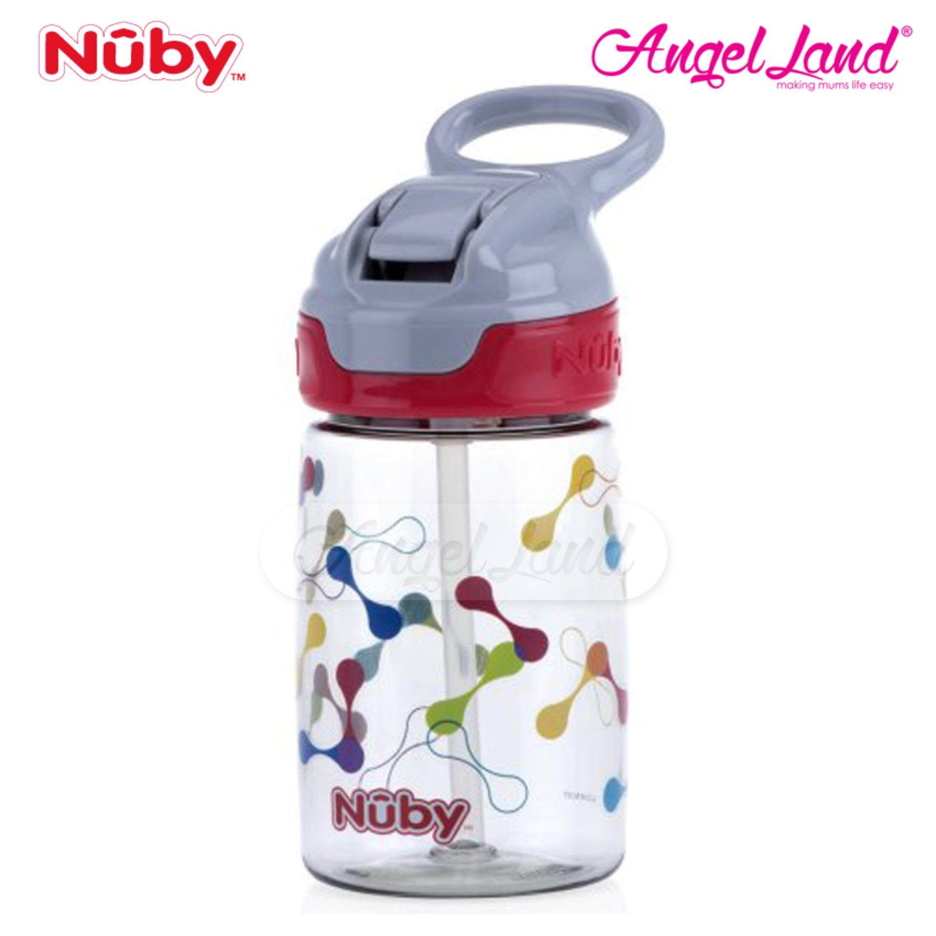 Nuby Printed & Tinted Soft Spout Sport Bottle with Push Button Top 360ML– Grey Shape NB1298