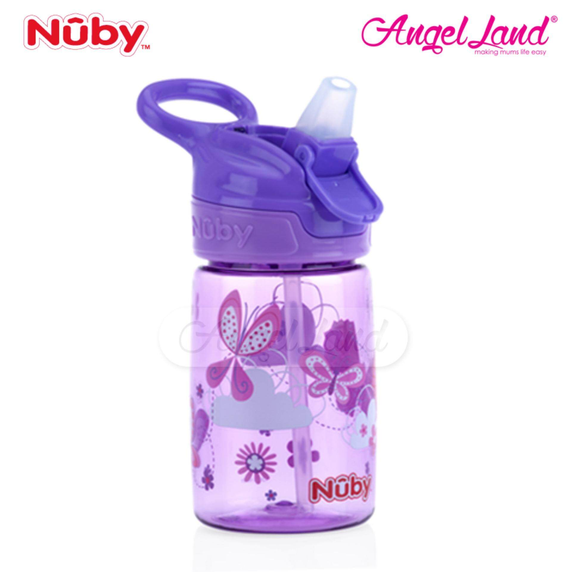 Nuby Printed and Tinted Soft Spout Sport Bottle with Push Button Top 360ML – Purple Butterfly NB1298