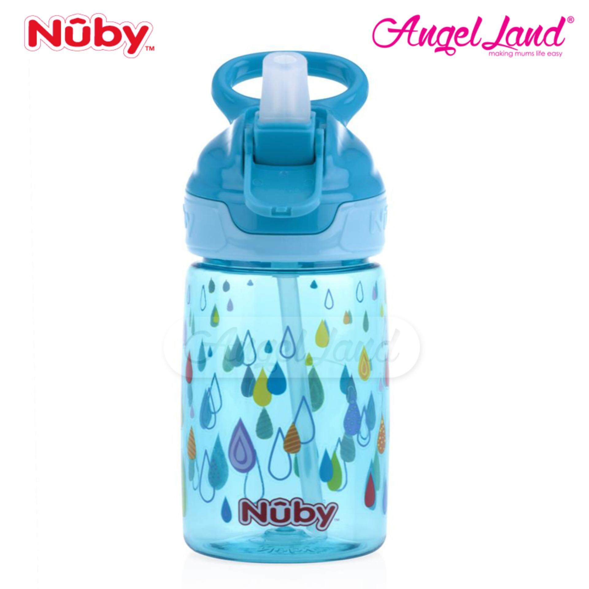 Nuby Printed and Tinted Soft Spout Sport Bottle with Push Button Top 360ML – Turquoise Raindrop NB1298