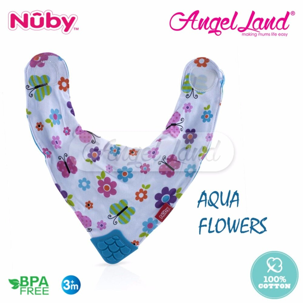 Nuby Teething Bib - NB4290 Aqua Flowers
