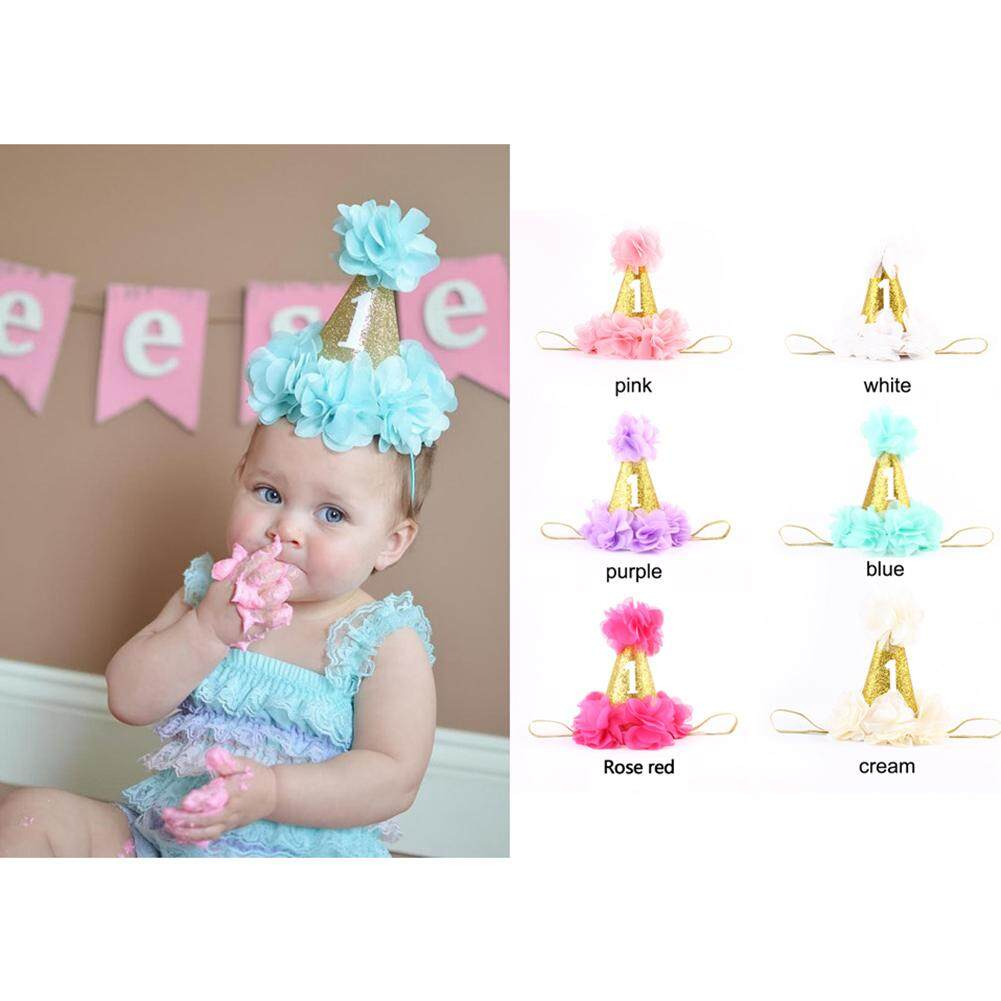 Flower crown for girls blue price in singapore kidlove one year old baby girl birthday headband crown flower party hat princess hairband izmirmasajfo