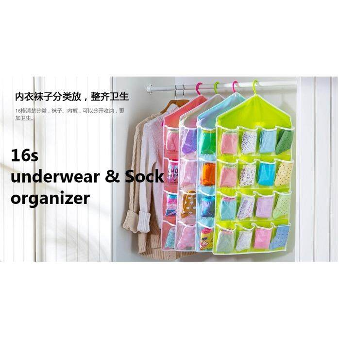 Over Door Hanging Bag 16 Pockets Colorful Clear Socks Bra Underwear Rack Hanger Organizer Storage (Pink)