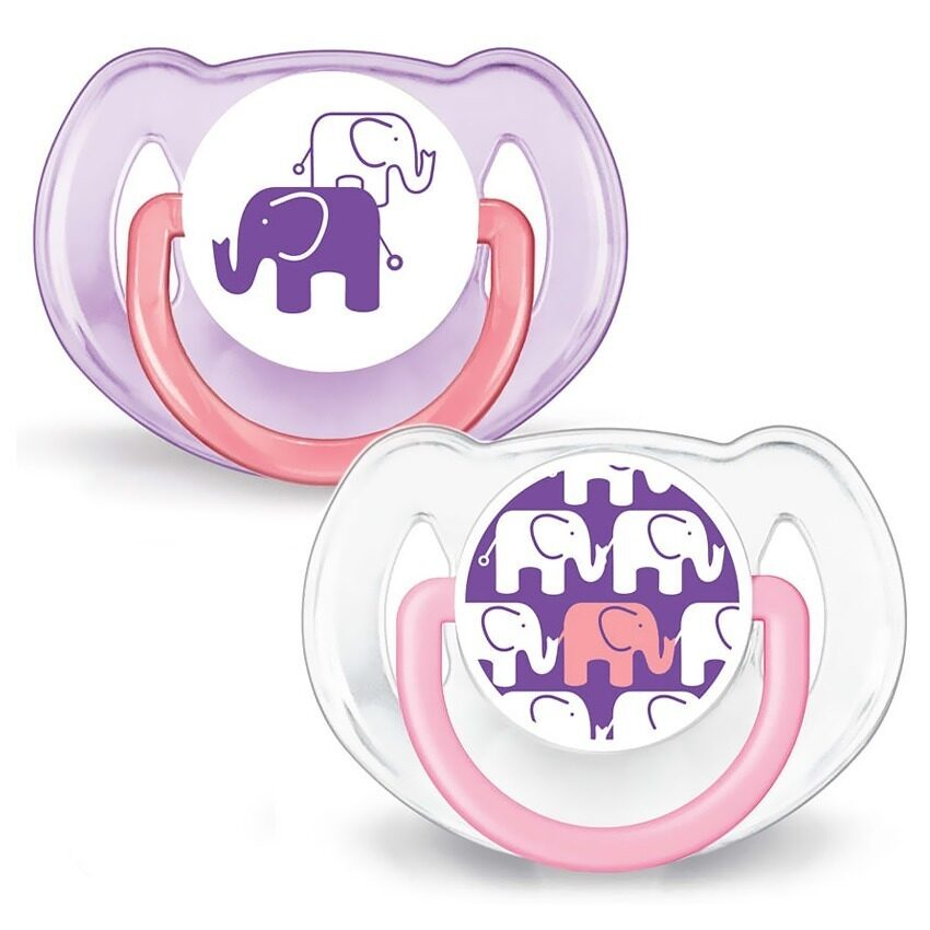 Philips Avent BPA-Free Fashion Elephant Design Soothers 6-18 Months (Pink) - Twin Pack