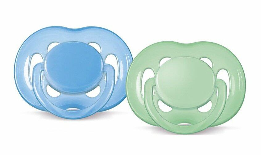 Philips Avent Free Flow Soothers 6-18 Months (Blue & Green) BPA-Free - Twin Pack