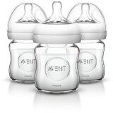 [ 100% ORIGINAL ] 3 x pcs Philips Avent Natural Glass Baby Bottles, 4 Ounce