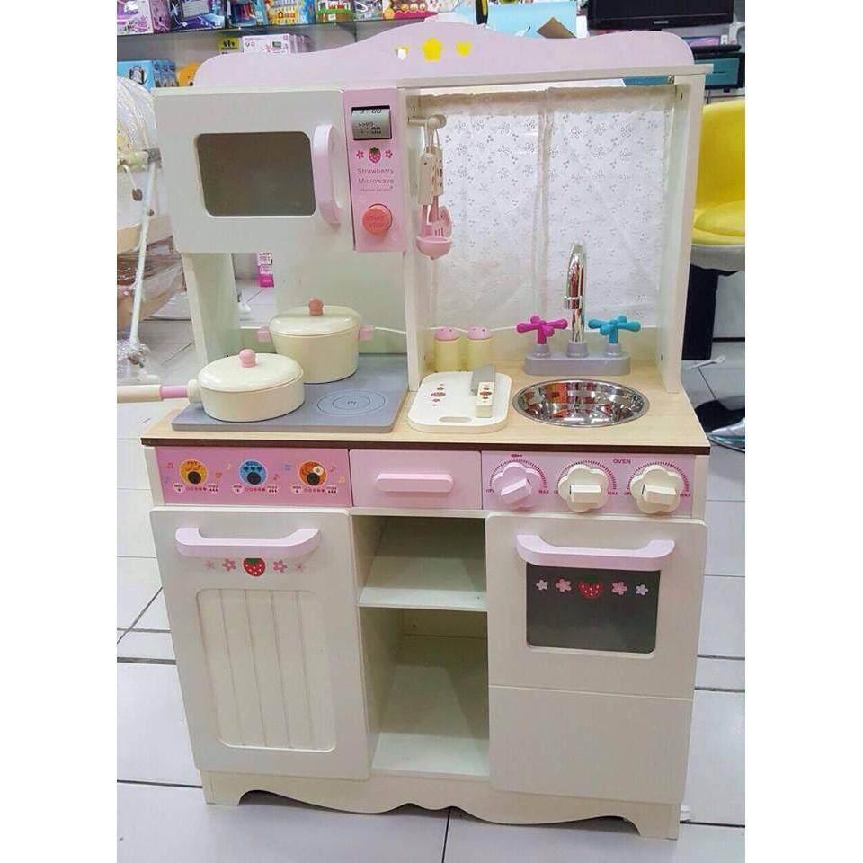 Pink Mini Wooden Kitchen Set Kids