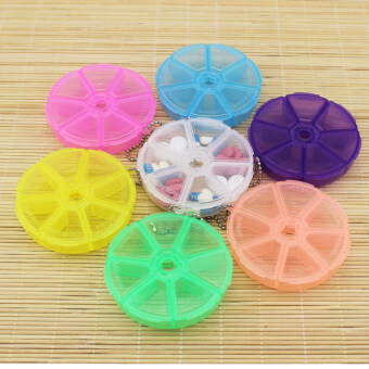 Portable Organizer Pill Round Box 7 Slot Health Pill Box CaseMedicine Drug