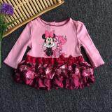 PREMIUM QUALITY Adorable Dress Suit for Girls with Ribbon on the waist and Ruffled Satin Skirt - Pink
