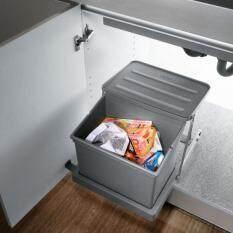 pull out kitchen cupboard storage under sink trash can grey waste bin
