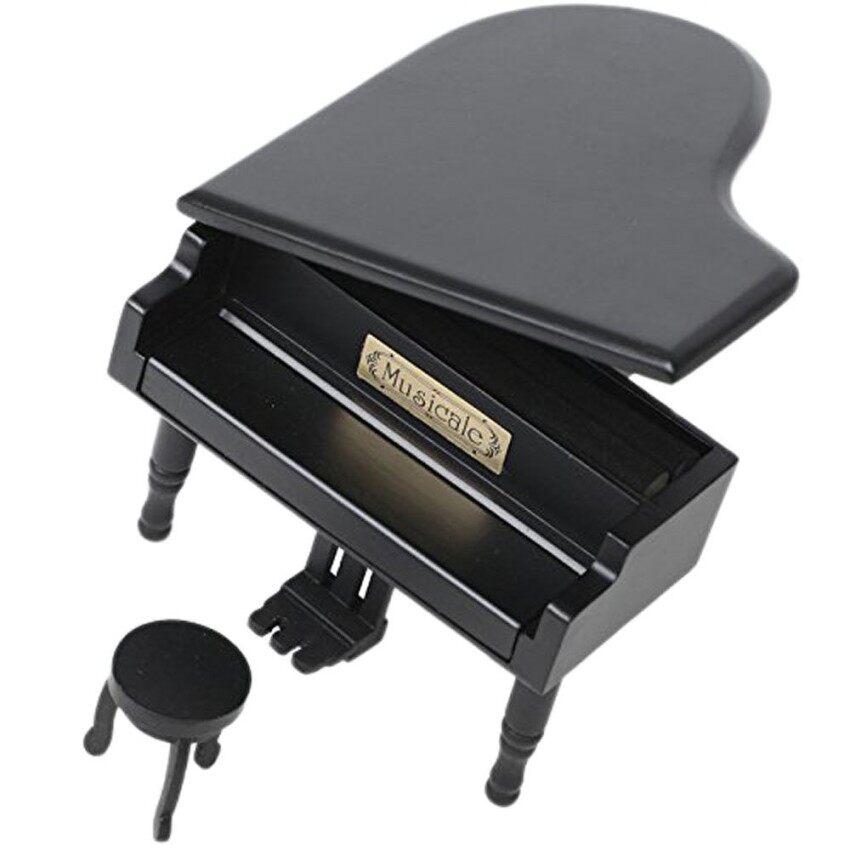 Retro Piano Musical Kotak. simulasi Kayu Musik Kotak Hadiah. cinta Story Musical Kotak. kotak Hitam dengan Emas Gerakan Musik-Internasional