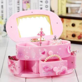 Rotating Music Box Mirror Ballet Jewelry Music Box Fashion Jewelry Music Boxes Birthday Gift Baby Present Pink