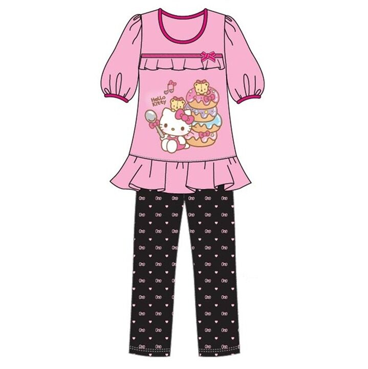 Sanrio Hello Kitty Casual Homewear 100% Cotton 4yrs to 10yrs - Pink Colour