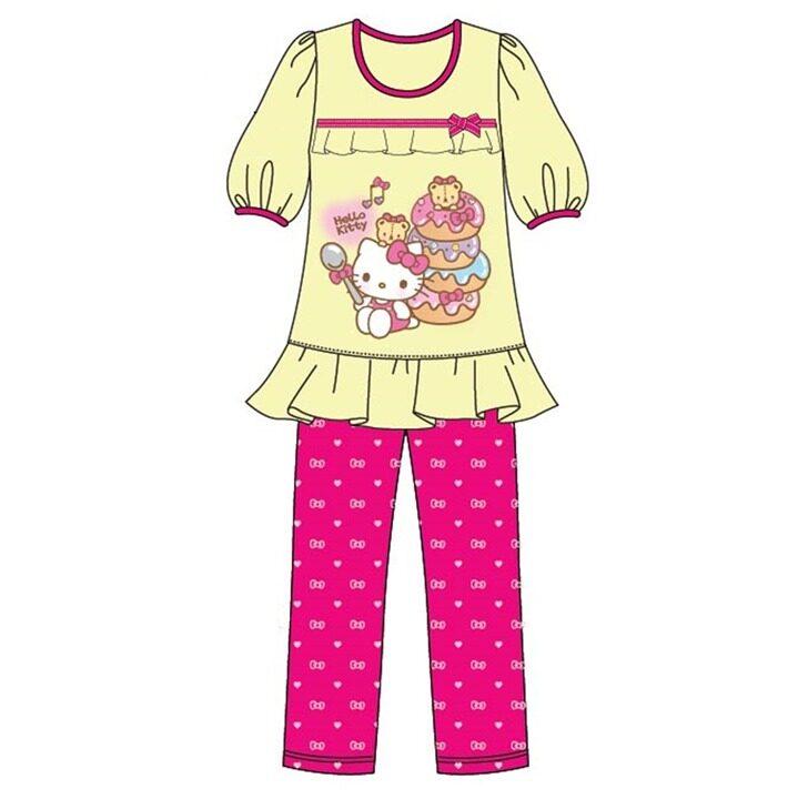 Sanrio Hello Kitty Casual Homewear 100% Cotton 4yrs to 10yrs - Yellow Colour