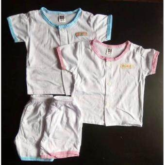 Harga Set of 2 Baby Newborn Delivery Hospital Wear Button Shirt WithShort Pants 100% Cotton Premium Multicolor Colar