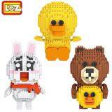Set of 3 Cute LINE Brown & Friends Series Loz Nano Block/ Diamond Block [Birthday Gift/Present]