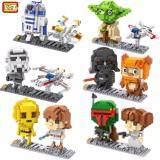 Set of 6 Cute Starwars/Starwar/Star Wars Loz Nano/Diamond Block Figure[Birthday Gift/DIY/Collection]