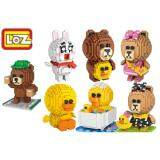 Set of 7 Cute LINE Brown / Choco / Sally / Cony Loz Nano/Diamond Block Figure [Birthday Gift/DIY]