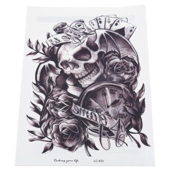 Harga Skull Clock Rose Waterproof Removable Temporary Tattoo Sticker Body Leg Arm Art--TC