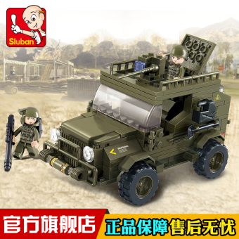 Small Lu Ban assembled military toys army jeep Model