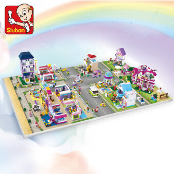Small Lu Ban girl's city series children's toys assembled building blocks