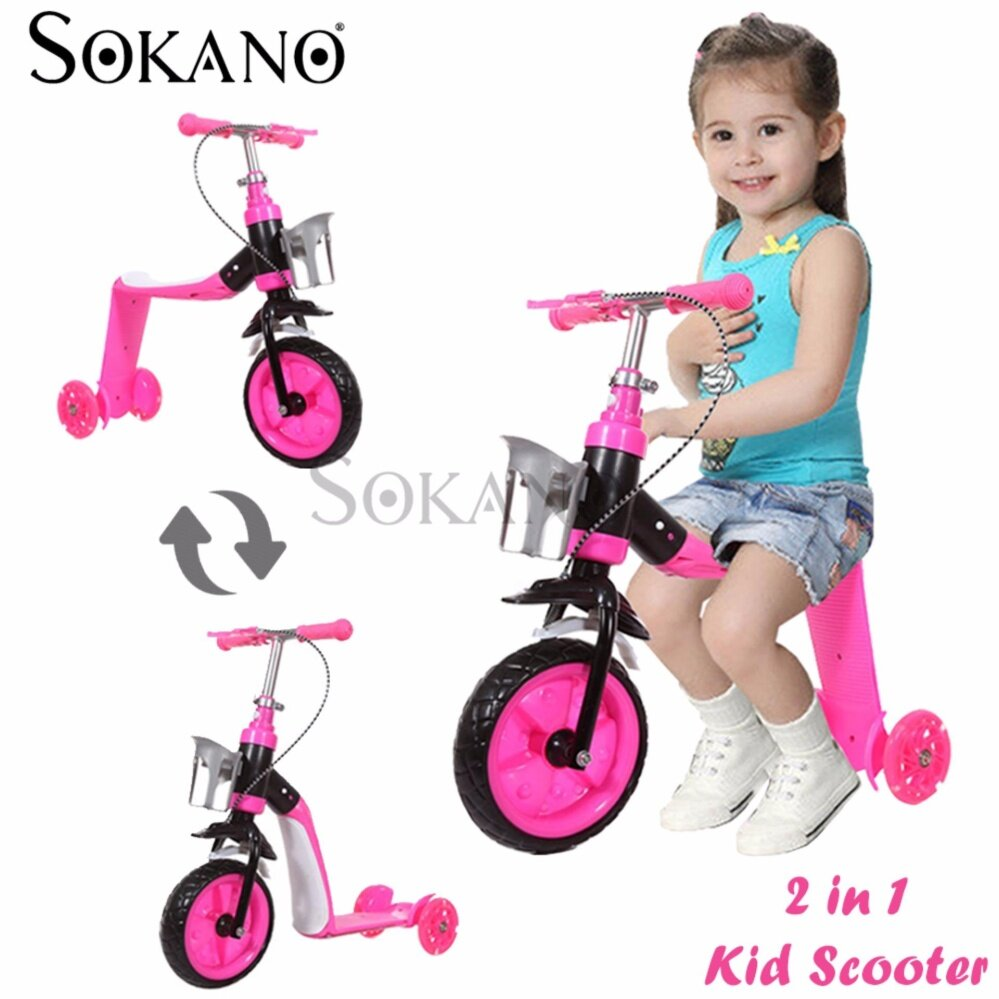 SOKANO 2 in 1 Indoor Or Outdoor Use Kid Scooter With Adjustable Height - Pink