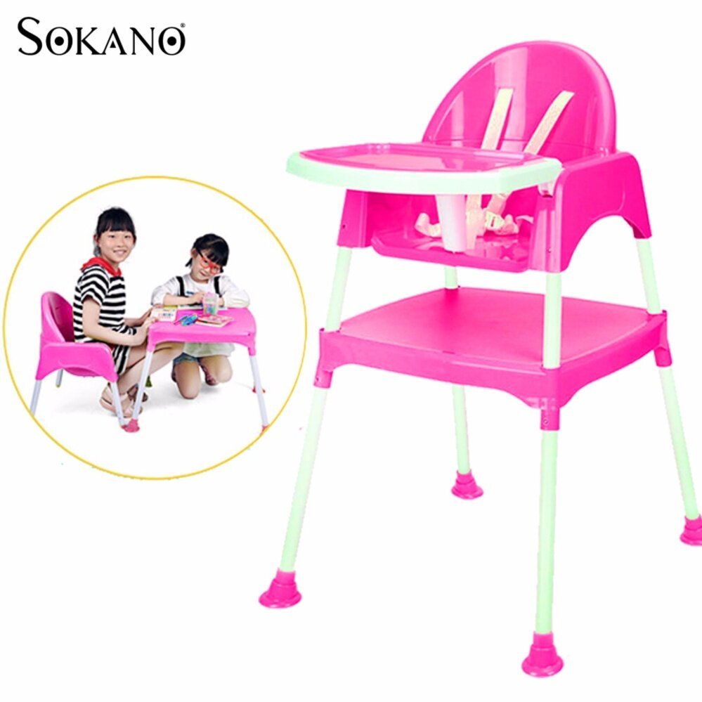SOKANO 3 in 1 Multipurpose Convertible Kid Dinning Seat cum Kid Study Table and Chair Set - Rose Red