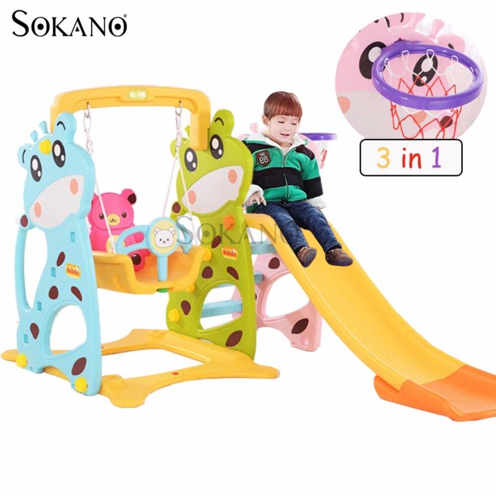 SOKANO 3 in 1 Bear Swing Slide and Basketball Indoor Mini Playground