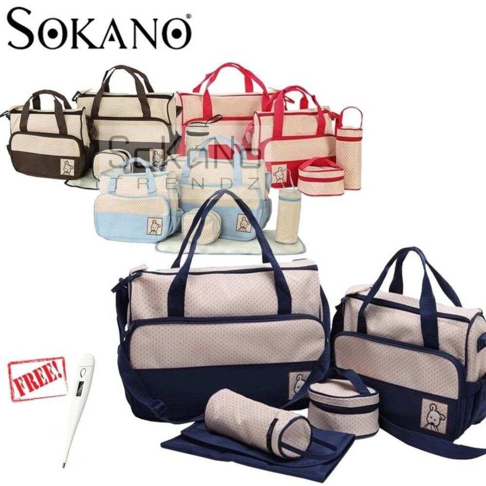 SOKANO 5 in 1 Mummy Essential Diaper Bag- Dark Blue (Free HomeDigital Thermometer For Baby And Kids)