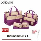 (RAYA 2019) SOKANO 5 in 1 Mummy Essential Diaper Bag- Purple (Free Home Digital Thermometer For Baby And Kids)