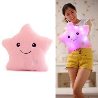SOKANO 7 Colour Changeable LED Light Stuffed Pillow- Star Shape Pink