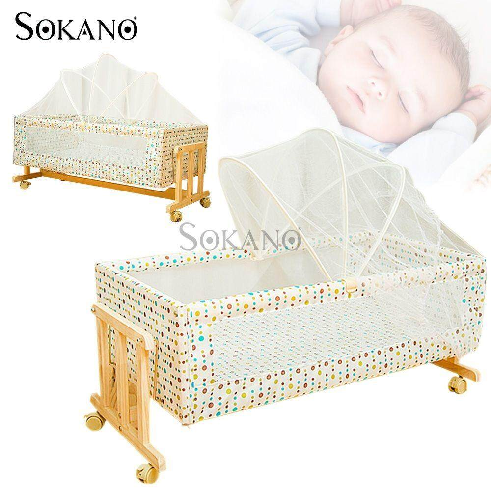 SOKANO Easel Wooden Baby Cradle Baby Nursery with Mosquito Net- Colourful Dots Design (HC401 Colourful Dots)