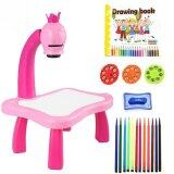 (RAYA 2019) SOKANO Kid Drawing Table With Projection, Light and Music (Free Drawing Book and Colouring Pen)- Pink