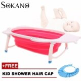 (RAYA 2019) SOKANO Large Size Foldable Bath Tub - Rose Red (Free Kid Shower Cap)