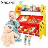 (RAYA 2019) SOKANO ONSHINE Kids Premium 3 Tiers Toy Organizer with 6 Colourful Storage Bins- Giraffe