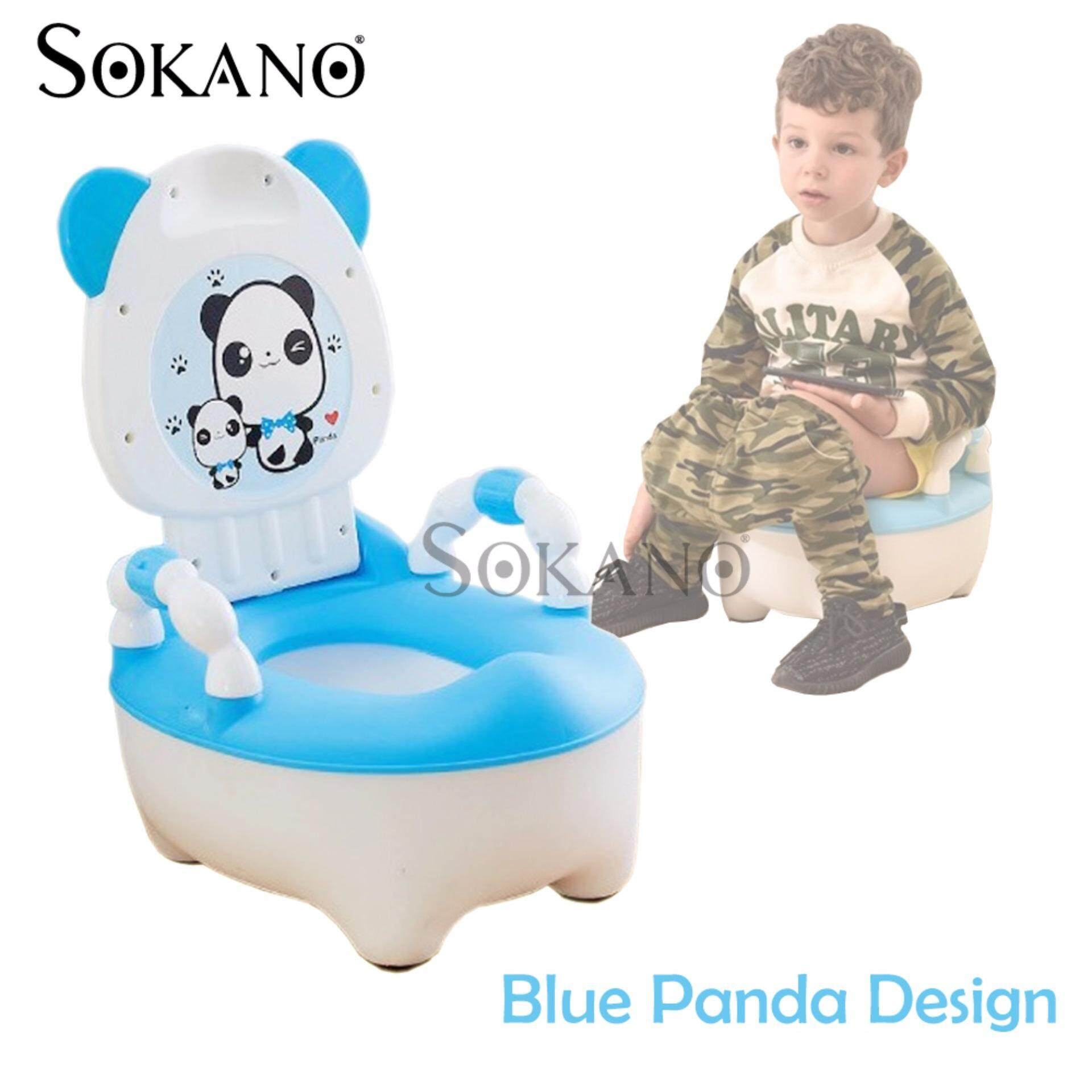 SOKANO Panda Design Kids Toilet Training Potty and Seats for Girls and Boys - Blue