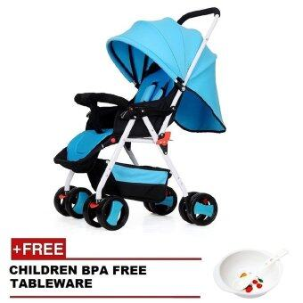 SOKANO Premium 2305 Light Weight Foldable Stroller- Blue (Free BPA Free Bowl)