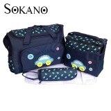 (RAYA 2019) SOKANO Premium Cutie Large Capacity Diaper Bag 4 pcs Set- Dark Blue