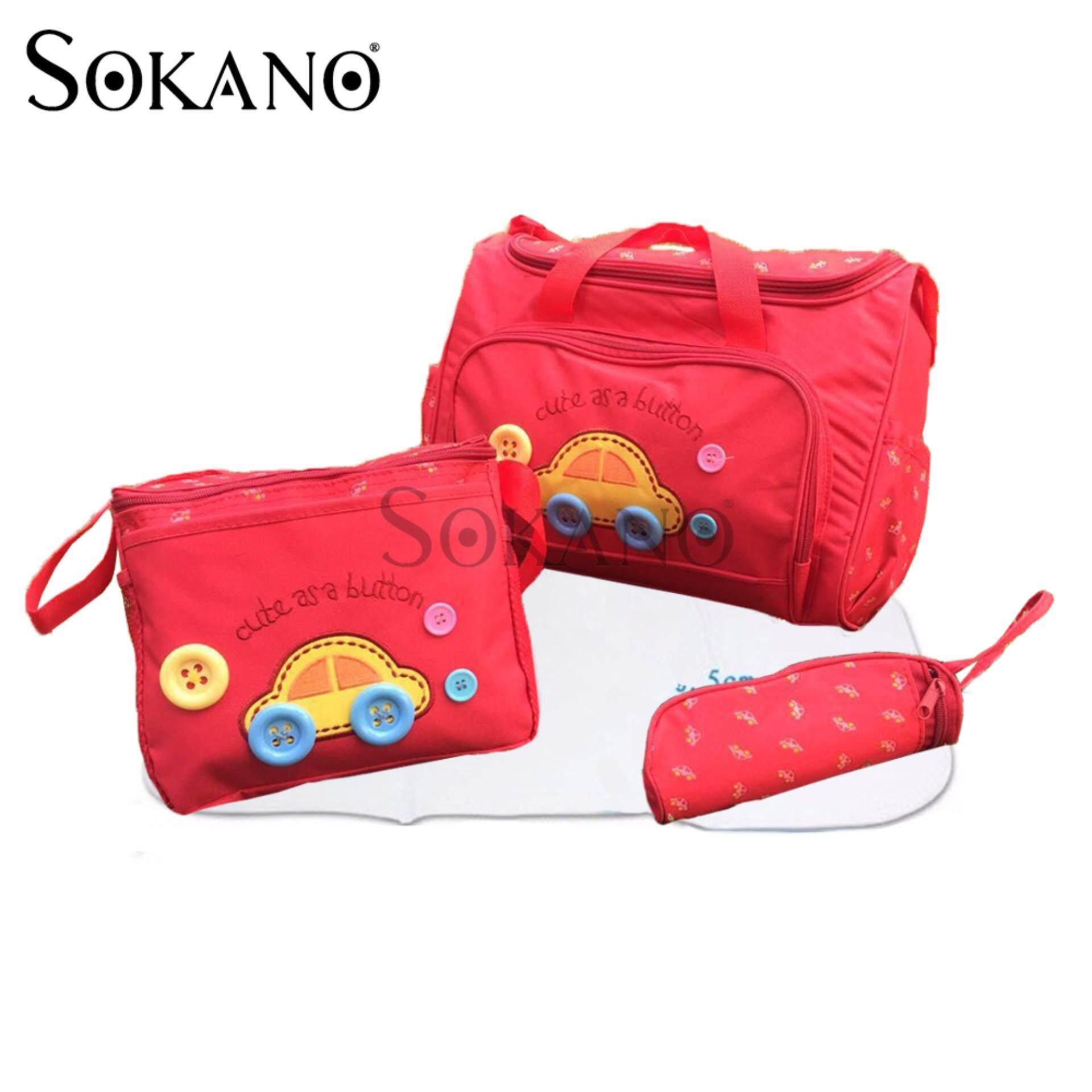 SOKANO Premium Cutie Large Capacity Diaper Bag 4 pcs Set- Red