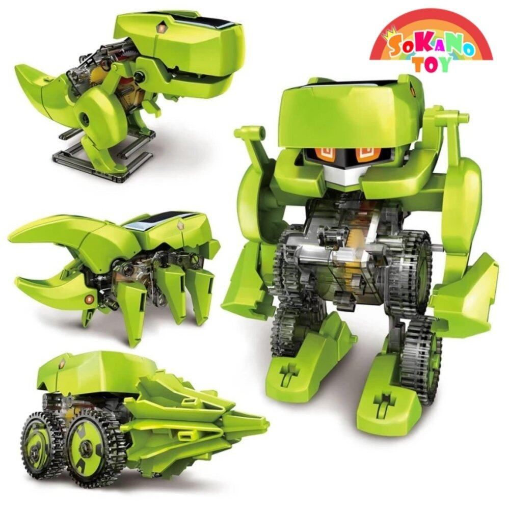 SOKANO TOY 4 In 1 Dinosaur Solar Power Educational Robot Kit DIY Toy