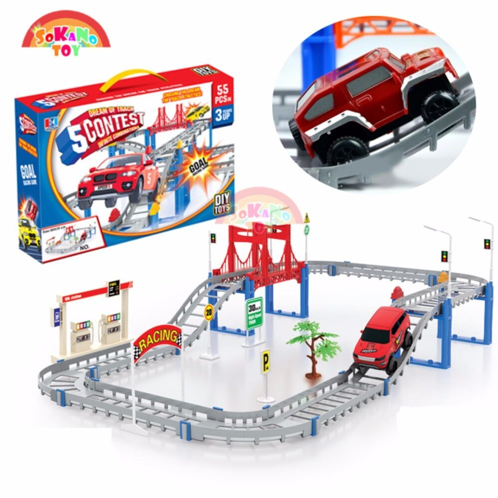 SOKANO TOY DIY Electric Track Car Game (95-3) Dream Of Track 5 Contest (55PCS)
