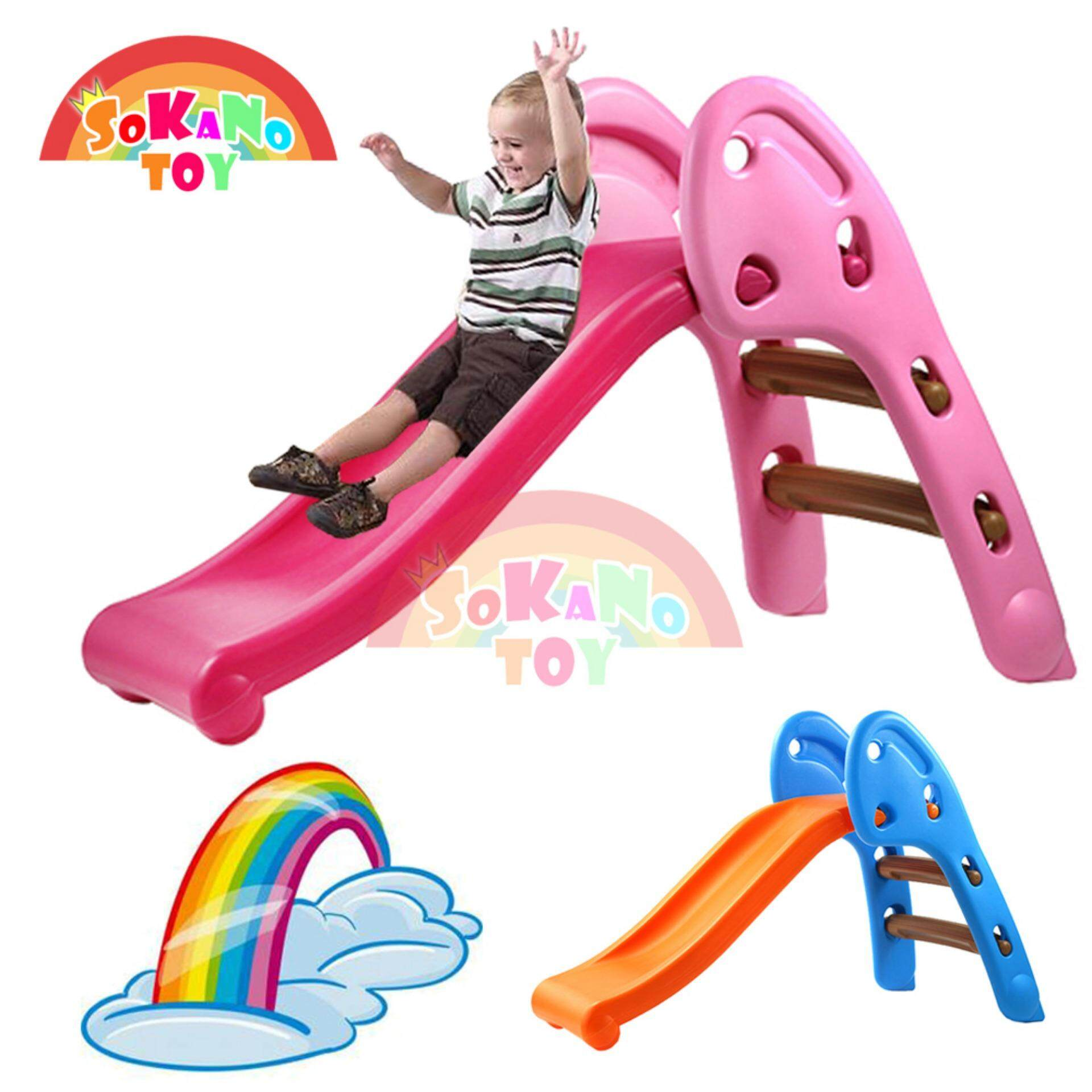 SOKANO TOY Mini Foldable Children Slide for Indoor and Outdoor - Pink