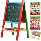 Sokano Wooden Portable 2-in-1 Blackboard and Whiteboard Easel Set