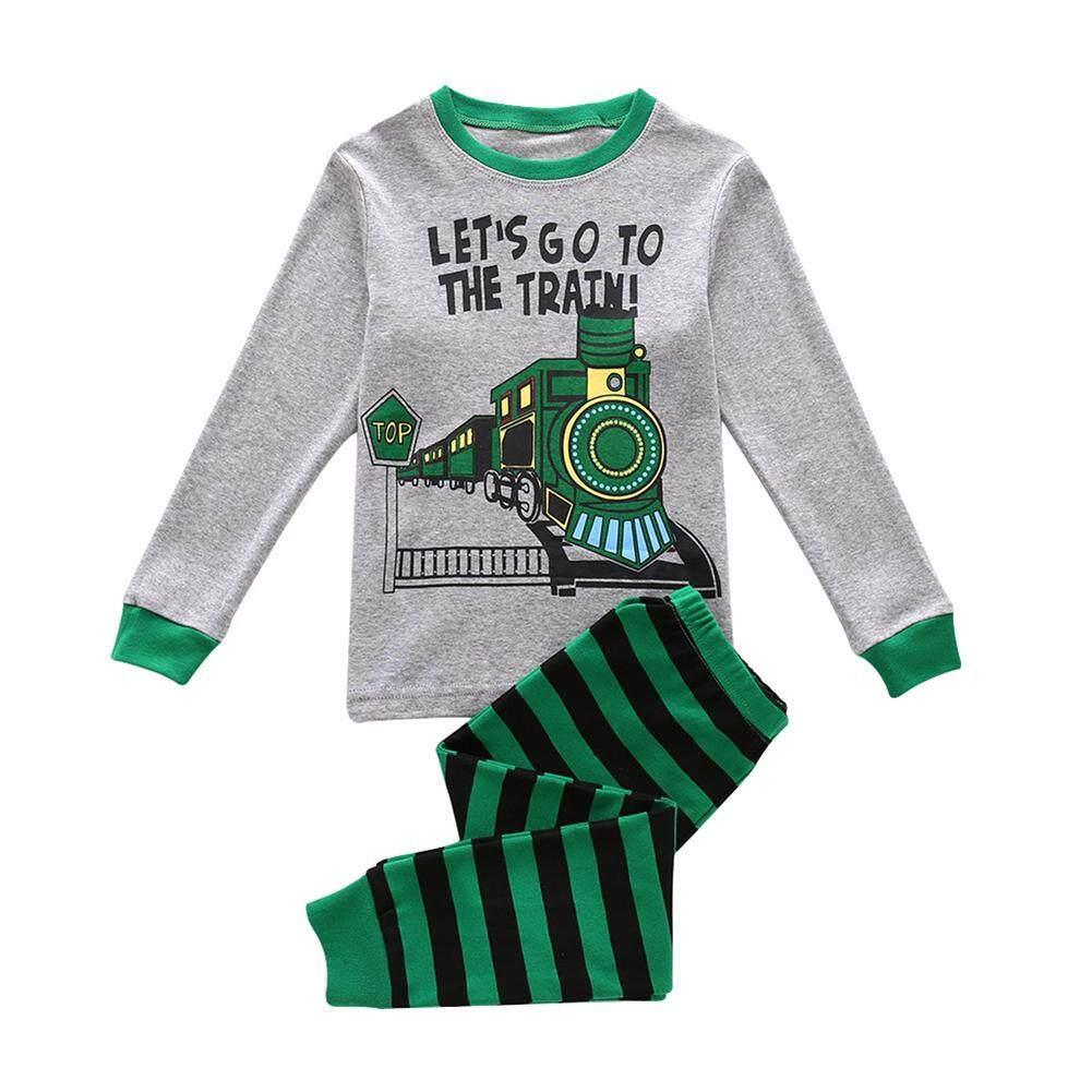SS Anak-anak Bayi Laki-laki Lengan Panjang Celana Leher Bulat Set Lucu Pola Kereta Cetak Pakaian 2 Pcs Pakaian Warna: hijau Ukuran Kereta: 100cm4y-Internasional