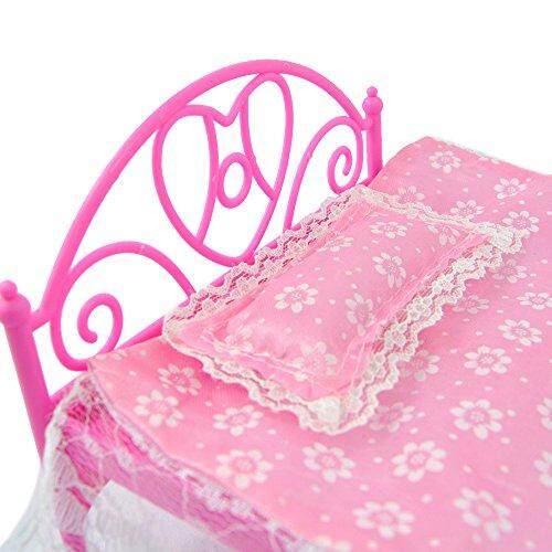 Starmall E-TING Merah Muda Mini Tempat Tidur dengan Bantal untuk Boneka Barbie Rumah Boneka Bedroom Furniture 1 Anak Mainan Pendidikan-Internasional