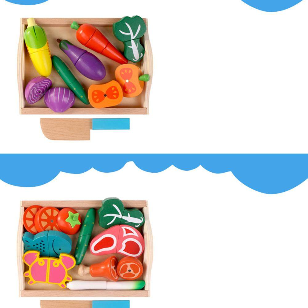 Starmall Kayu Rumah-rumahan Mainan Kitchen Cut Tiruan Makanan Bermain Mainan Edukasi .