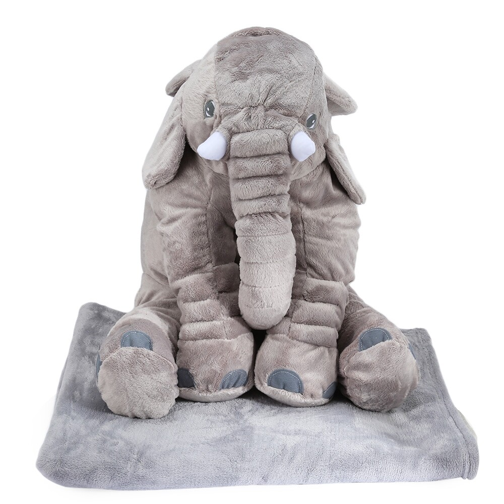 Hình ảnh Stuffed Cute Simulation Giant Elephant Plush Doll Toy Pillow with Blanket Birthday Christmas Gift - intl